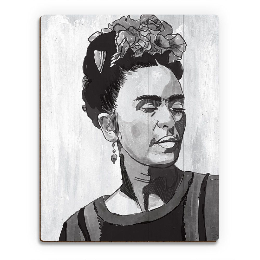 Horizon 'Frida Kahlo and White' Wood Wall Art