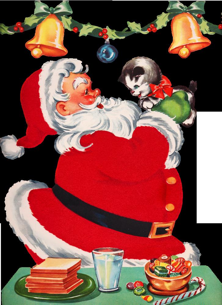 christmas clip art Santa Behind a Christmas Tree Clip