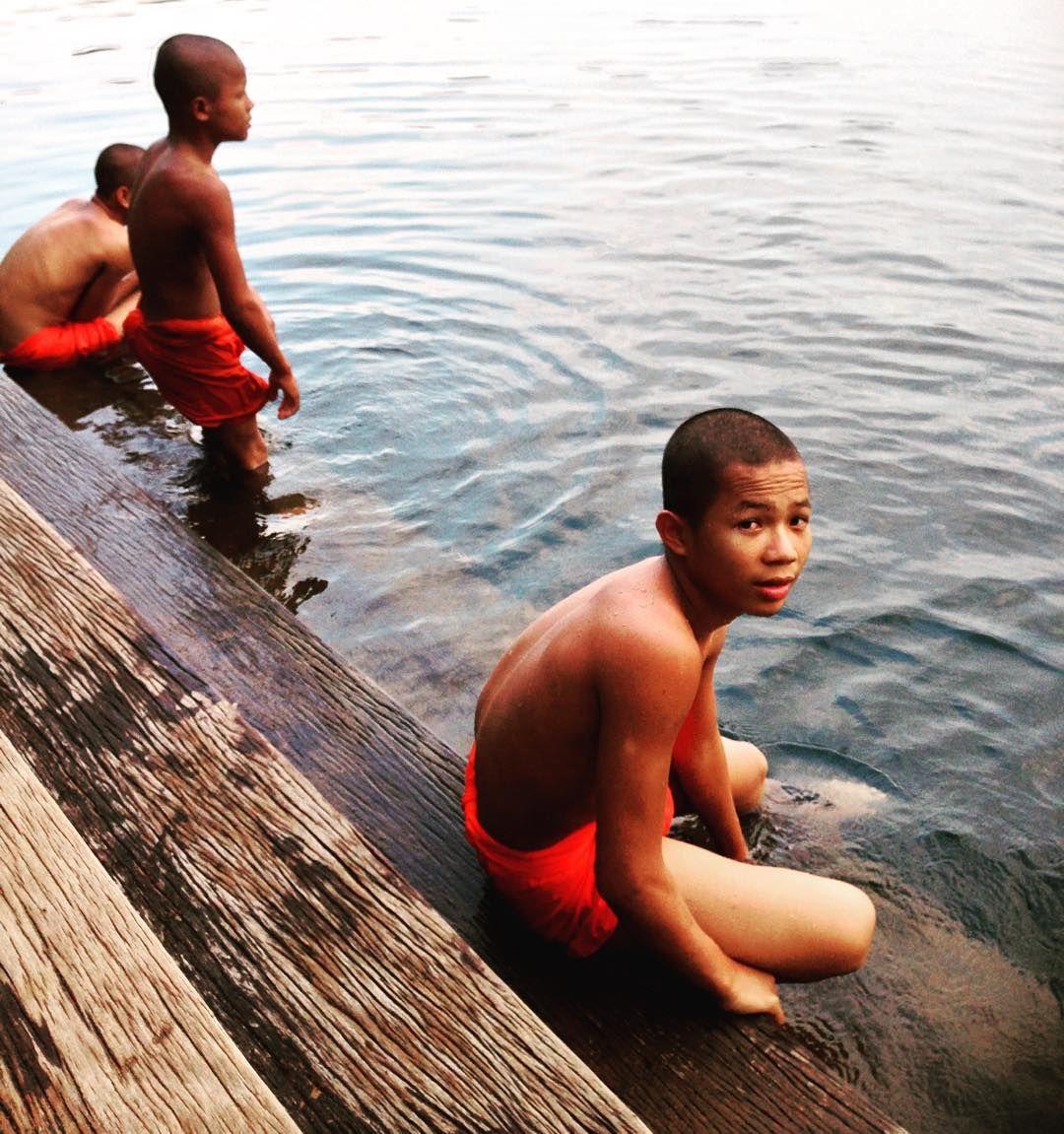 #Budist #monks #Swimming in a #crater of #ratanakiri #yaklaom #lake by enclavedeviaje