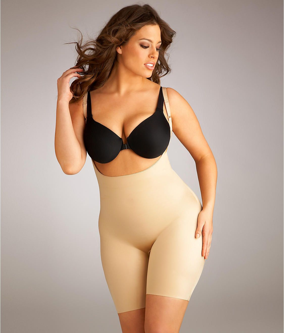 98b8cb6b1cd SPANX Slimplicity Open-bust Mid-Thigh Body Briefer Plus Size Shapewear 991P  at BareNecessities.com 88.00