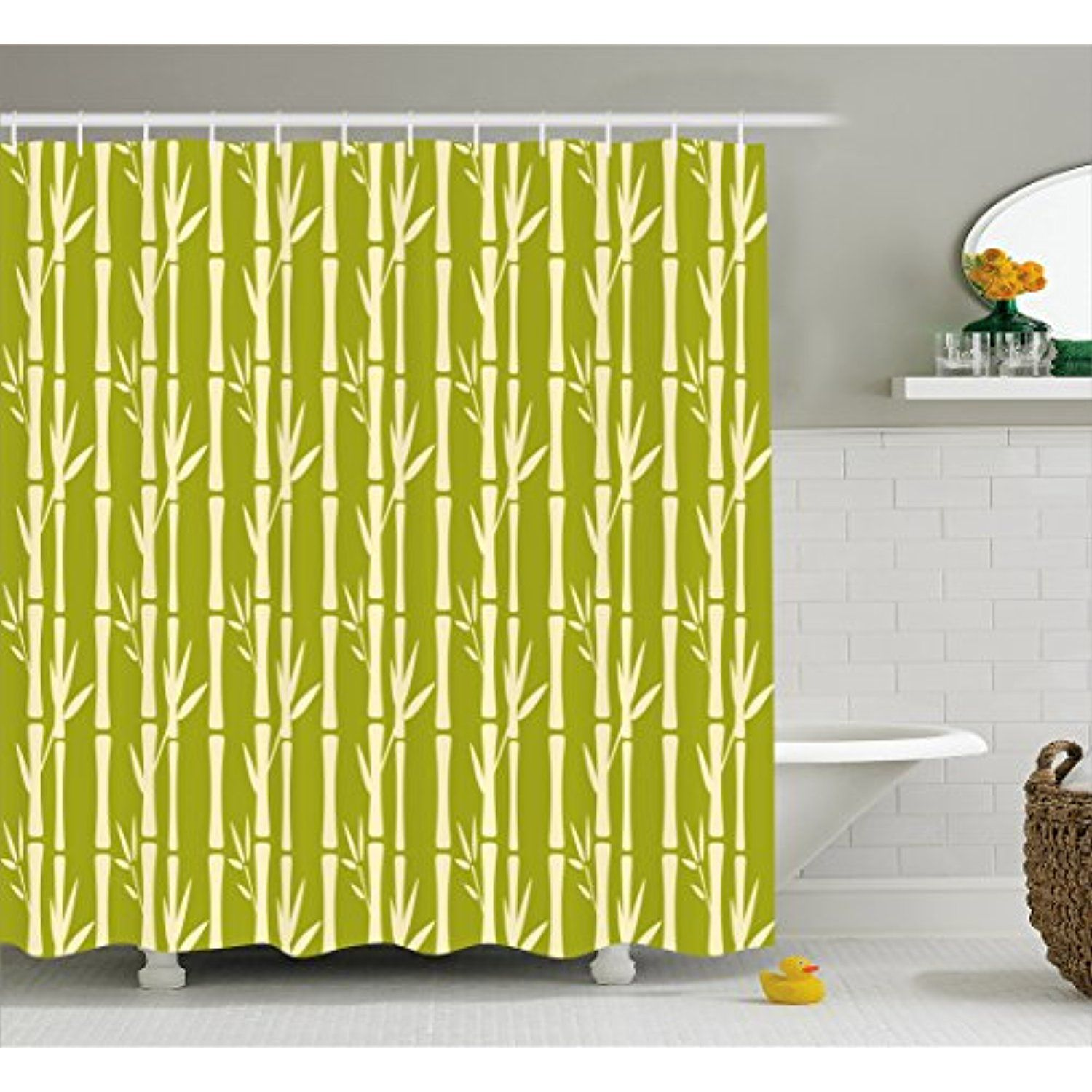 Bamboo Shower Curtain By Lunarable Abstract Bamboo Stems With