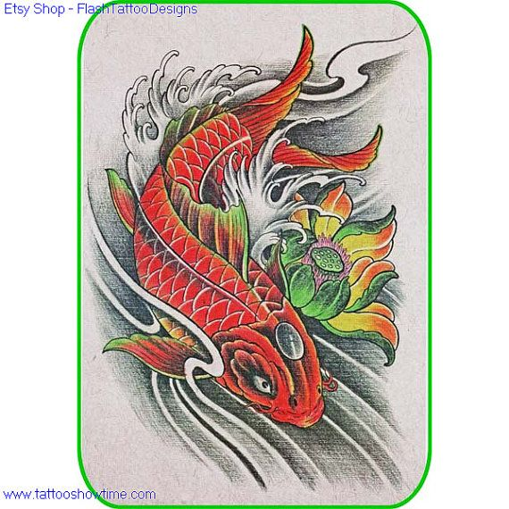koi flower tattoo design 23 for you on etsy top quality high resolution color design with. Black Bedroom Furniture Sets. Home Design Ideas
