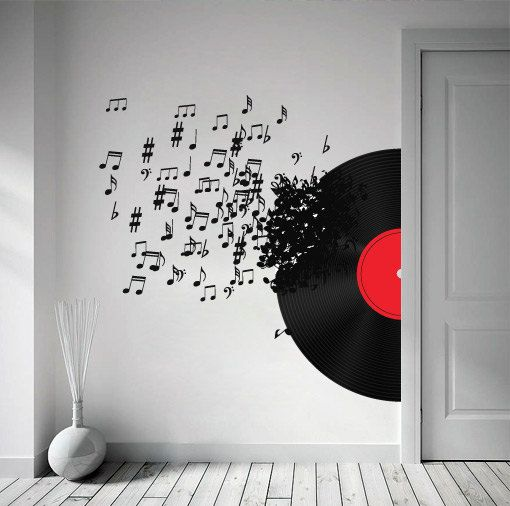 vinyl record blowing music notes decal for modern homes | painted