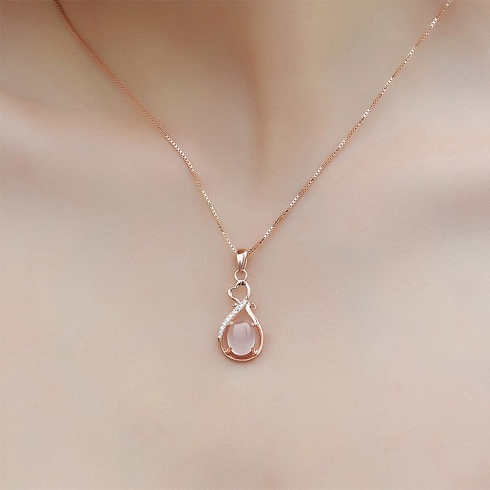 Rose Gold Plated Chain Rhinestone Crystal Opal Pink Pendant Necklace