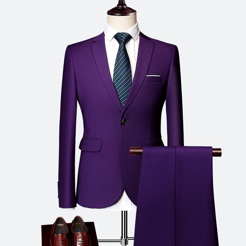 JYDress Mens Solid Color Formal Business 3 Piece Suit Set for Office Wear