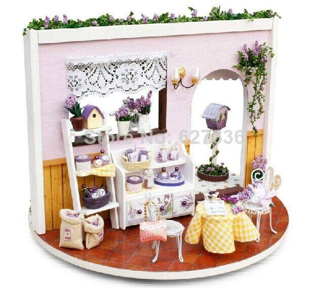 Lavender Diy Handmade Doll House 360 Degree Rotation With Led
