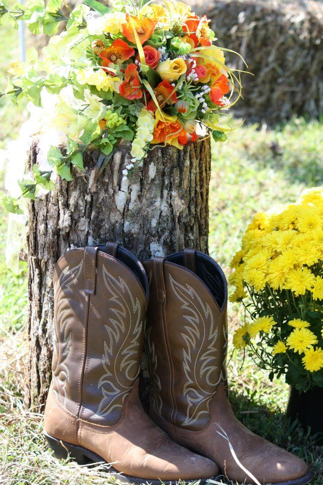 This is a picture of the boots i wore for my wedding and my bouquet. Our whole wedding was had a laid back country feel to it.