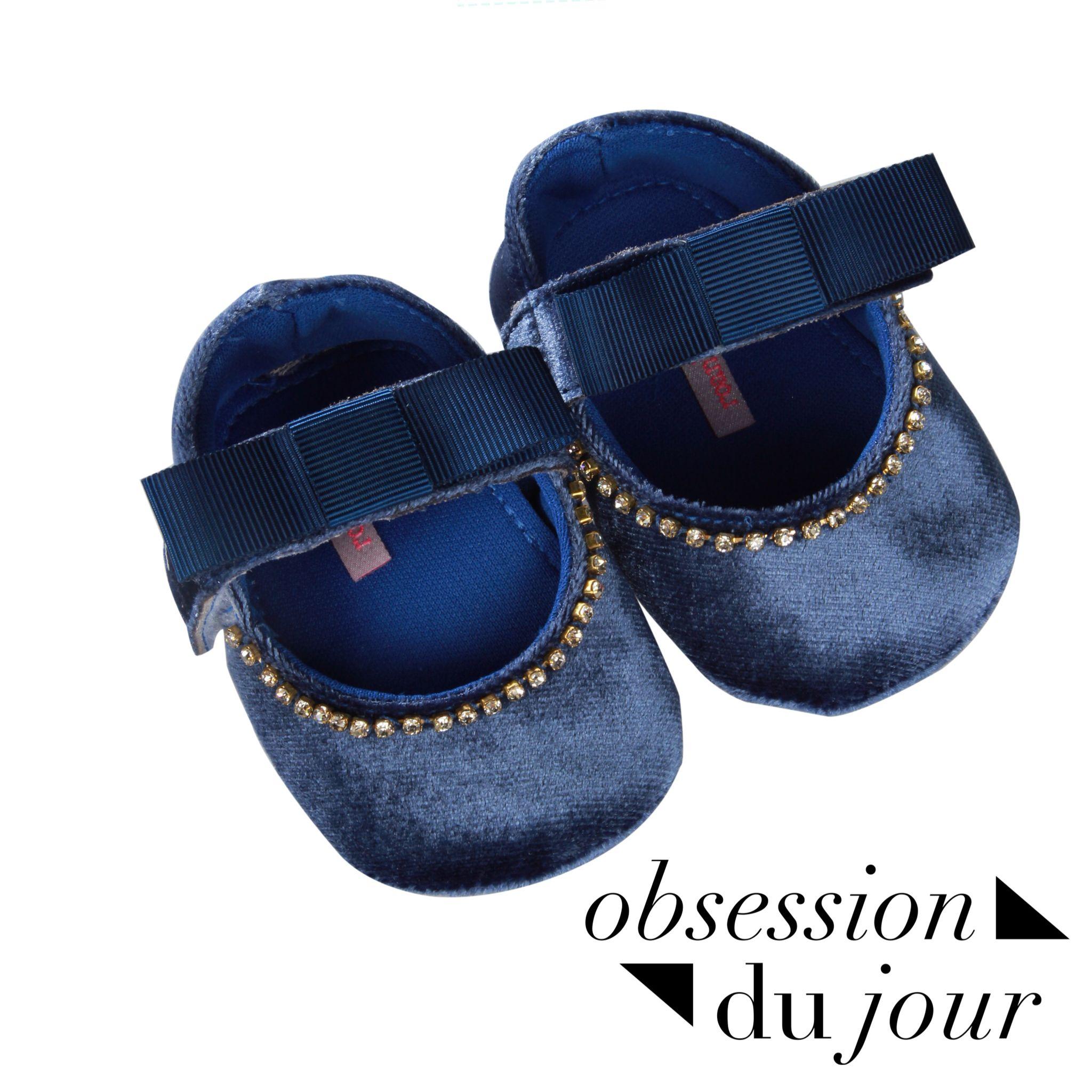 Sapatilha de bebª em veludo azul royal Volute royal blue baby shoes