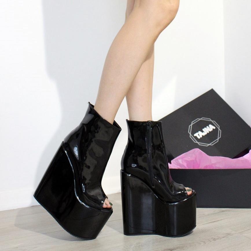 720f3cfefe22 Peep Toe Black Patent Leather High Heel Wedge – Tajna Club