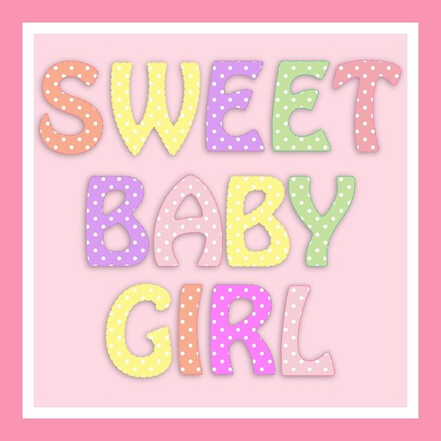 Baby, Girl, Birth, Announcement, New, Card, Pink, Cute