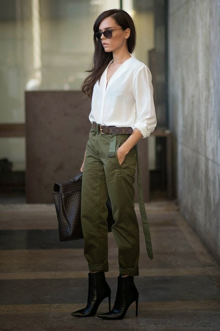 9cd2687a5142 How to Look Military Chic | Glam Radar | Outfits | Vestidos verdes ...