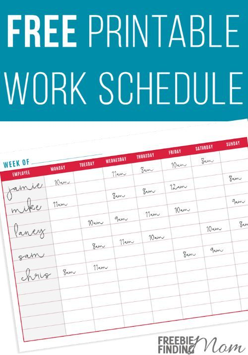 FREE Printable Work Schedule More Homework, Free printable and - work schedule