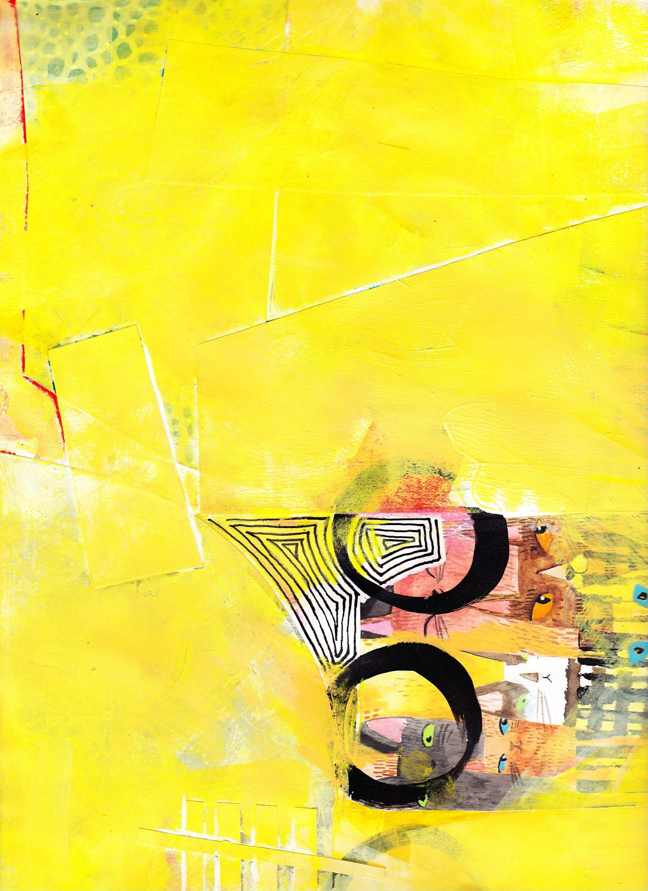"""8-12, Acrylic, crayon and collage on paper, 9"""" x 12"""", from lesson 8 - Busy, then Mostly Quiet, Jane Davies course 100 Drawings on Cheap Paper  One of those where my idea of """"Quiet"""" (bright yellow) didn't exactly comply with the lesson plan."""
