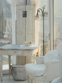 Salvaged Shutters - used to add interest and height to a room - via Finally White: A little paradise
