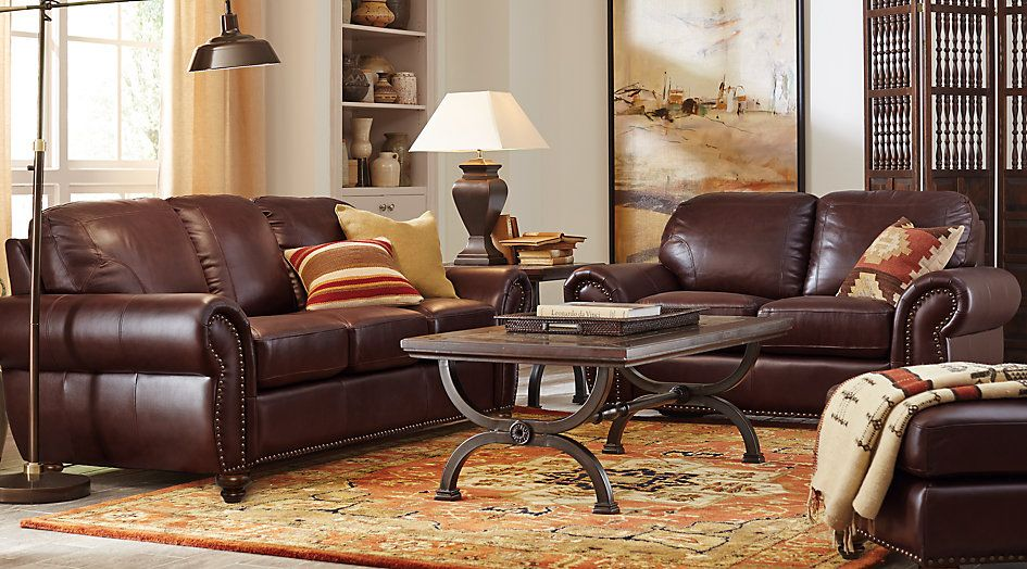 Brockett Brown Leather 3 Pc Living Room