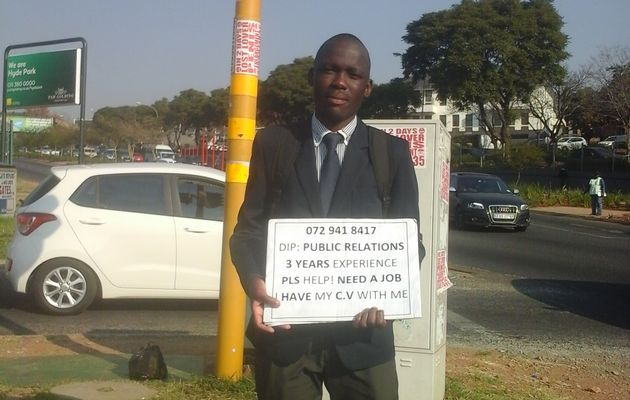 Graduates search for work on street corners