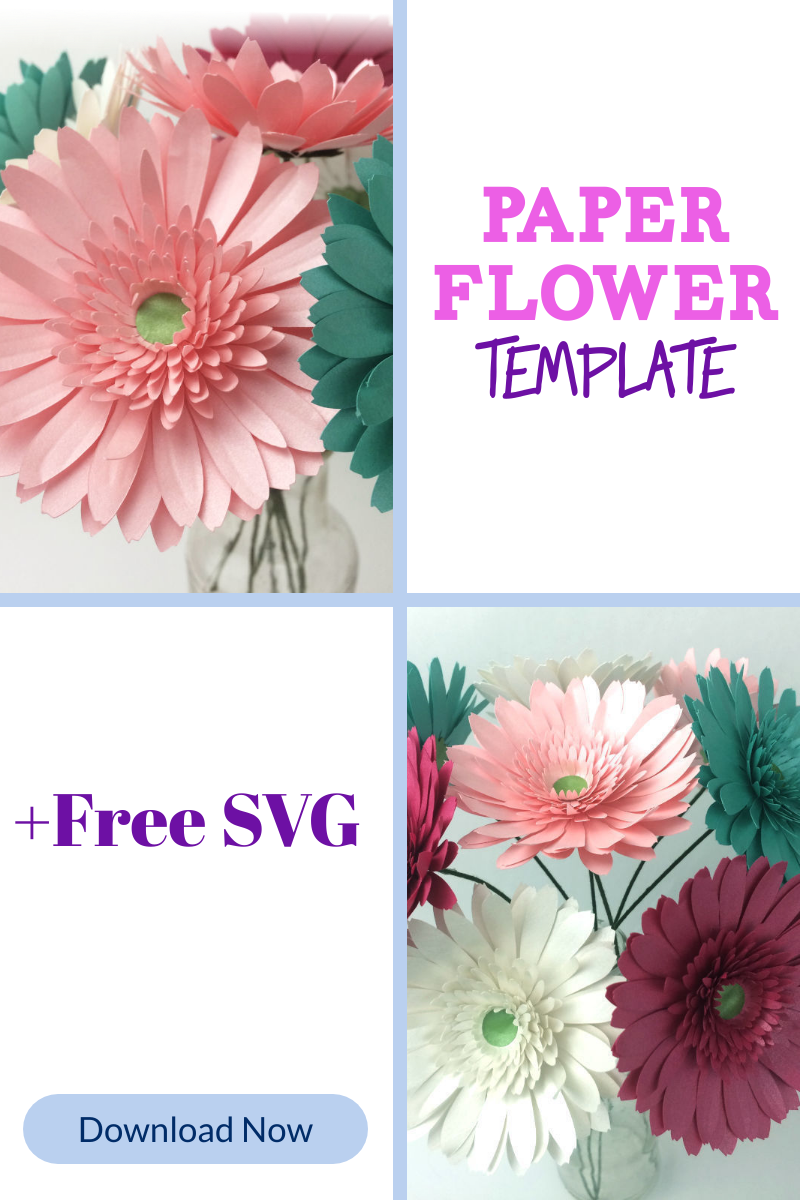 How To Make Paper Gerbera Daisies In 2020 Free Paper Flower Templates Paper Flower Template Paper Flowers