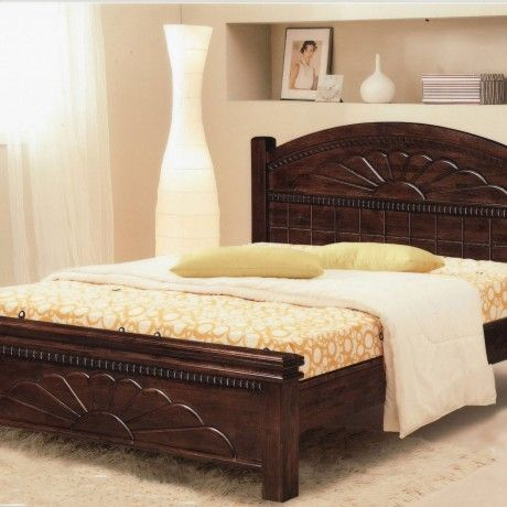 Bedroom Classic Indian Varnished Wood Bed Frame Together With Yellow ...
