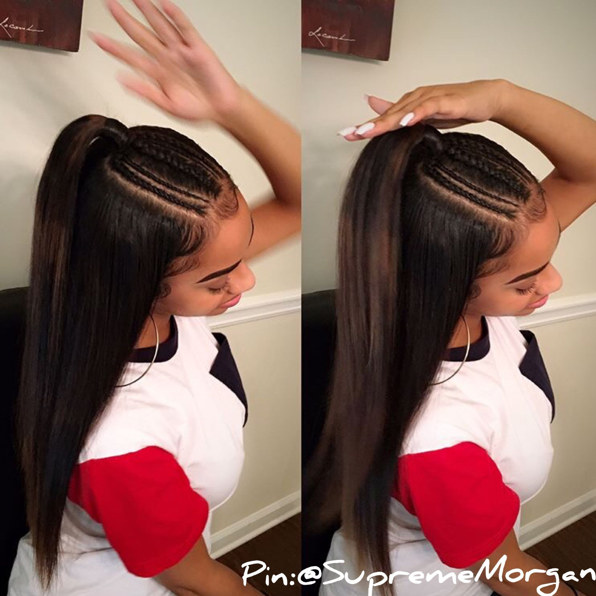 Straight Haircuts Attractive Hair Styles Designed For Straighter Hair Like The 1 2 Up Pony Tails Side B Hair Styles Natural Hair Styles Womens Hairstyles