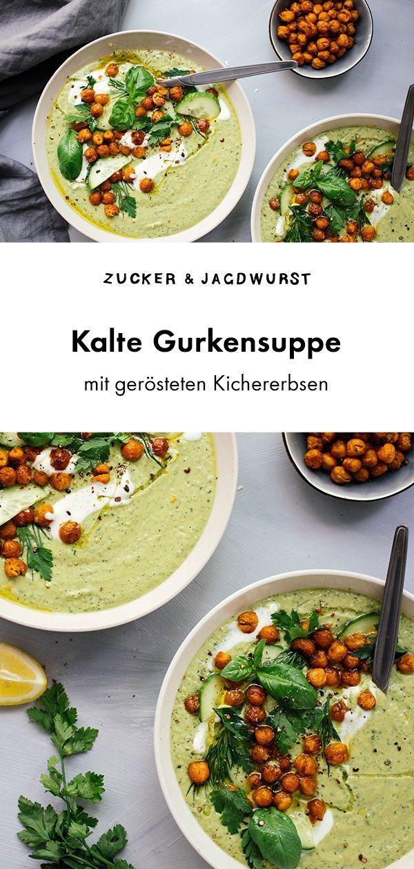 Kalte Gurken-Avocado-Suppe mit gerösteten Kichererbsen - Zucker&Jagdwurst
