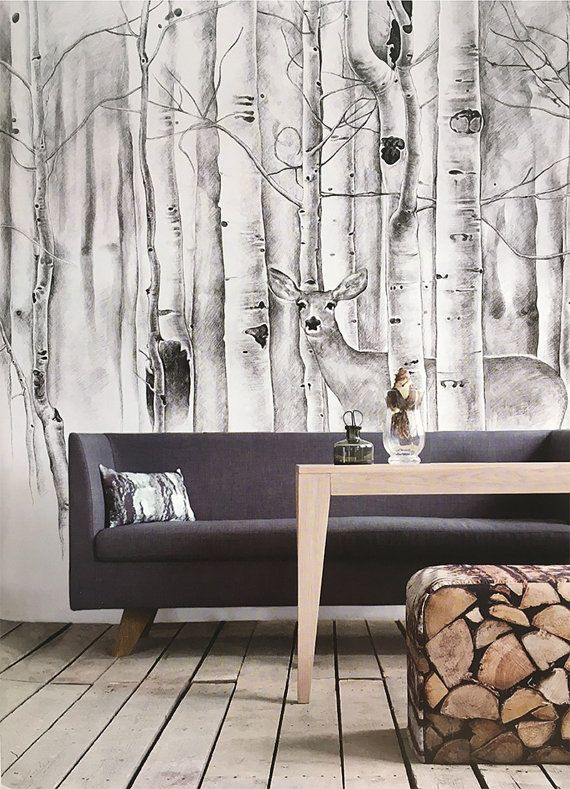 Deer in woods wallpaper birch trees wall mural animal for Deer mural wallpaper