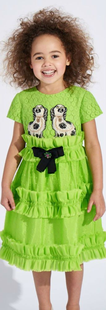 d219239d2 Love this GUCCI Girls Green Party Dress with Silk Ruffles. As Seen Worn By  Beyonce's Daughter Blue Ivy in New Orleans. #kidsfashion #sale #gucci  #minime ...