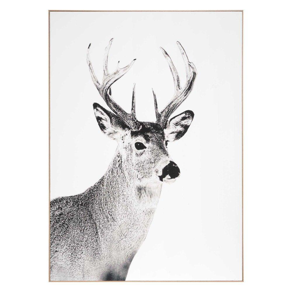 36 99 Tableau Cerf En Bois Noir Blanc 65 X 90 Cm L Gant Ce