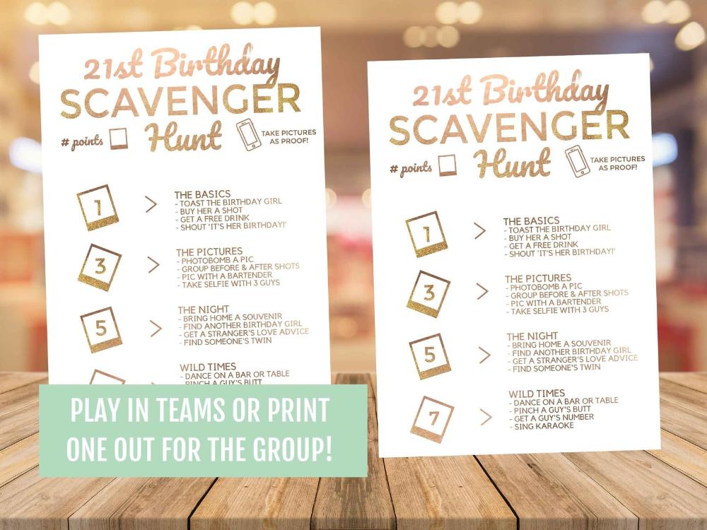 21st Birthday Scavenger Hunt Phone Game Rose Gold Etsy In 2021 21st Birthday Scavenger Hunt Scavenger Hunt Birthday 21st Birthday Games