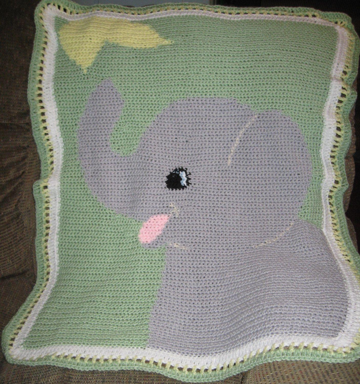 Elephant Crochet Graph Baby Blanket Crochet Elephant Kids Crochet Pattern Crochet Knit Blanket
