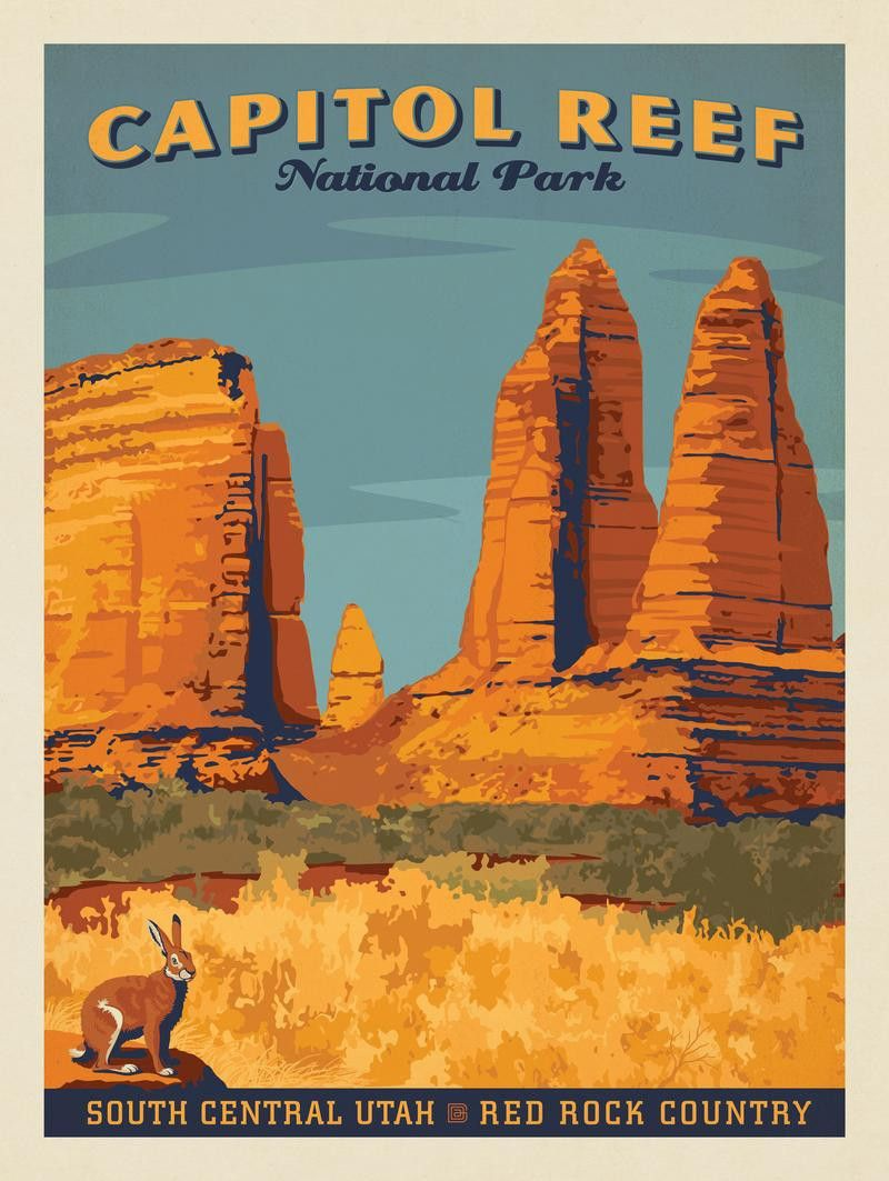 Capitol Reef National Park Vintage Travel Posters