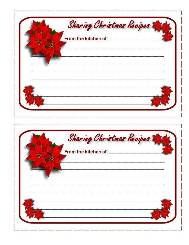 Christmas Recipe Cards | Printable Christmas Recipe Cards ...
