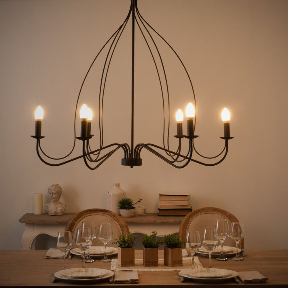 6 armiger kronleuchter aus metall d 100 cm schwarz wohnen inspiration. Black Bedroom Furniture Sets. Home Design Ideas