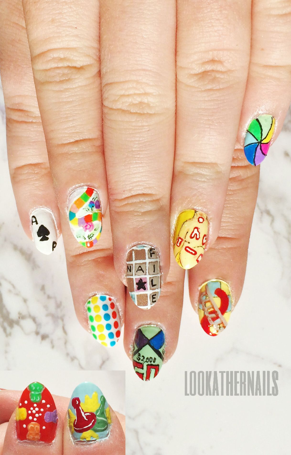 Board game nail art featuring Hungry Hippos, Sorry, Candy Land ...