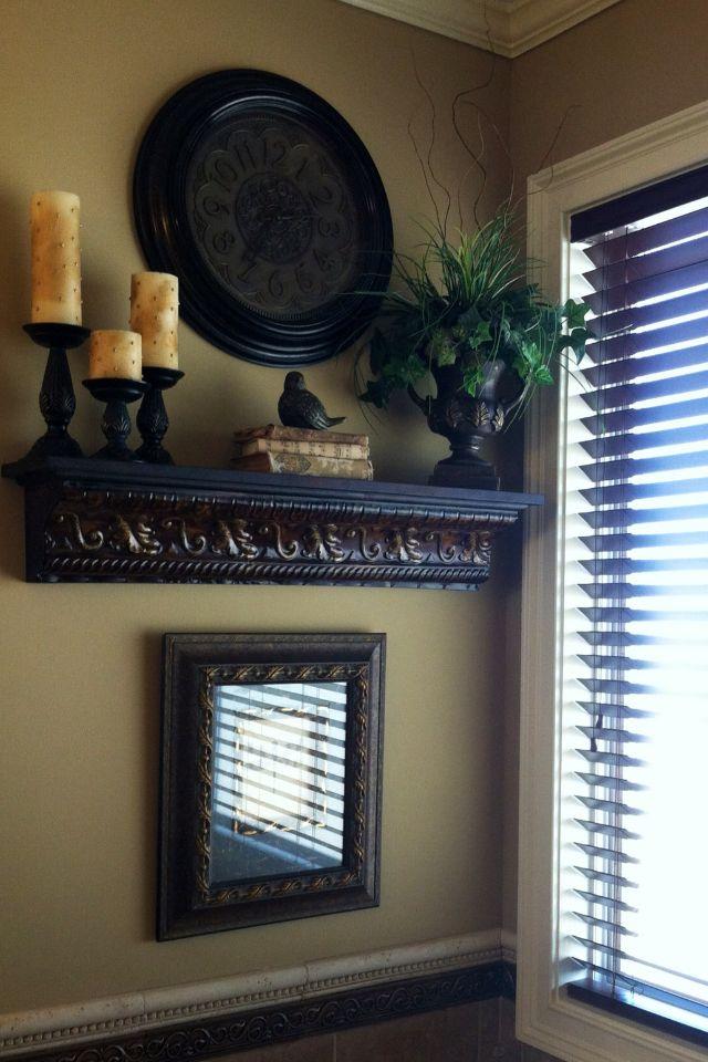fabulous shelf on bathroom counter | 27 Rustic Wall Decor Ideas to Turn Shabby into Fabulous ...