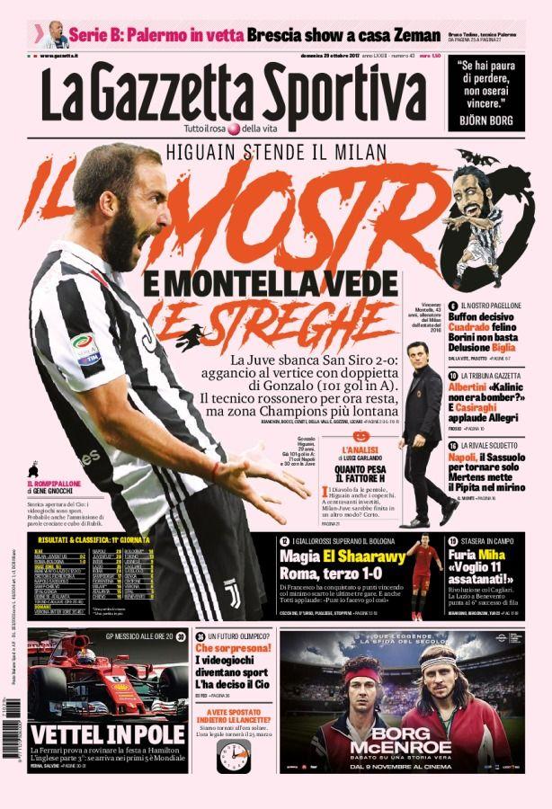 La Gazzetta Sportiva // 29/10/2017 // Calcio, Sport