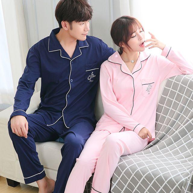 49c125ea90 Couple pajamas set 100% cotton pajamas plaid pajamas spring and autumn men  and women long sleeve sleepwear lover night suits