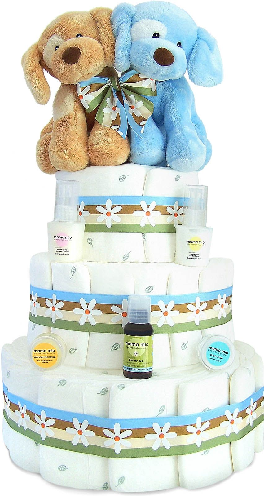 Mommy and Baby Diaper Cake for Twins! Boys Free Shipping