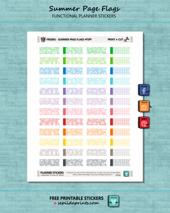 FREE Planner Stickers Summer Page Flags