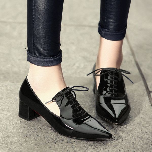 Women Patent Leather Shoes, Waterproof