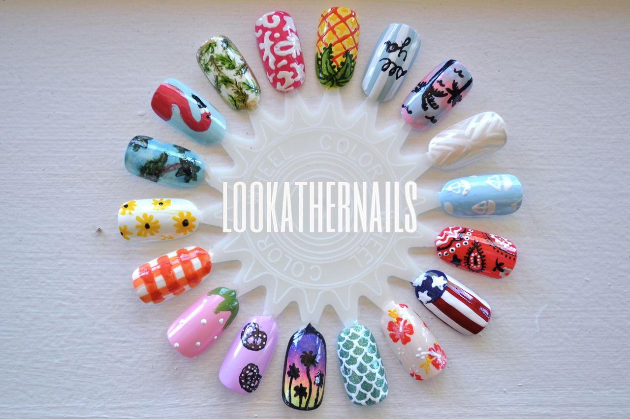 Summer themed nail art wheel I finished today. By LookAtHerNails