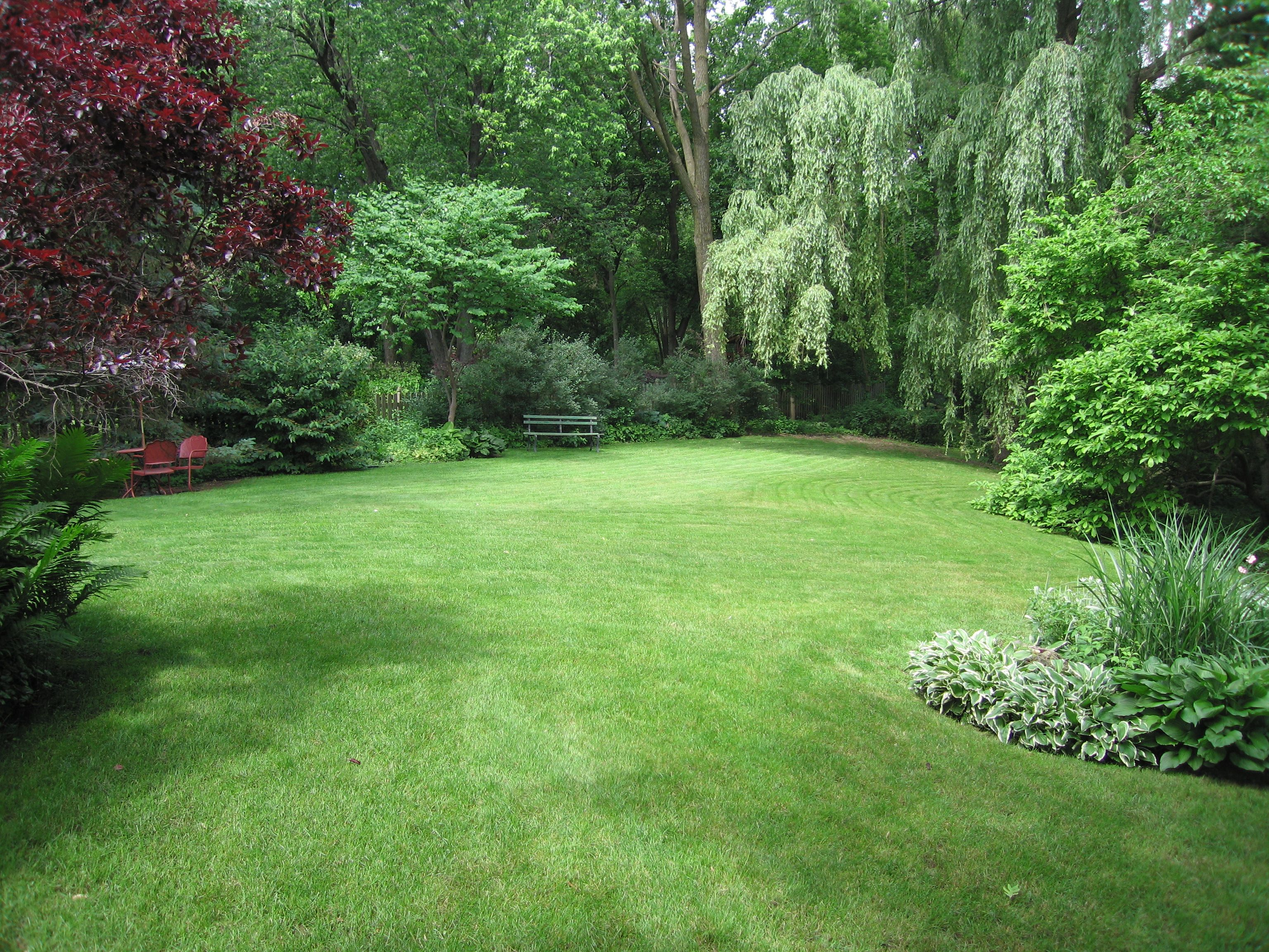 Our yard has an amazing open grass space surrounded by the for Large backyard landscaping ideas