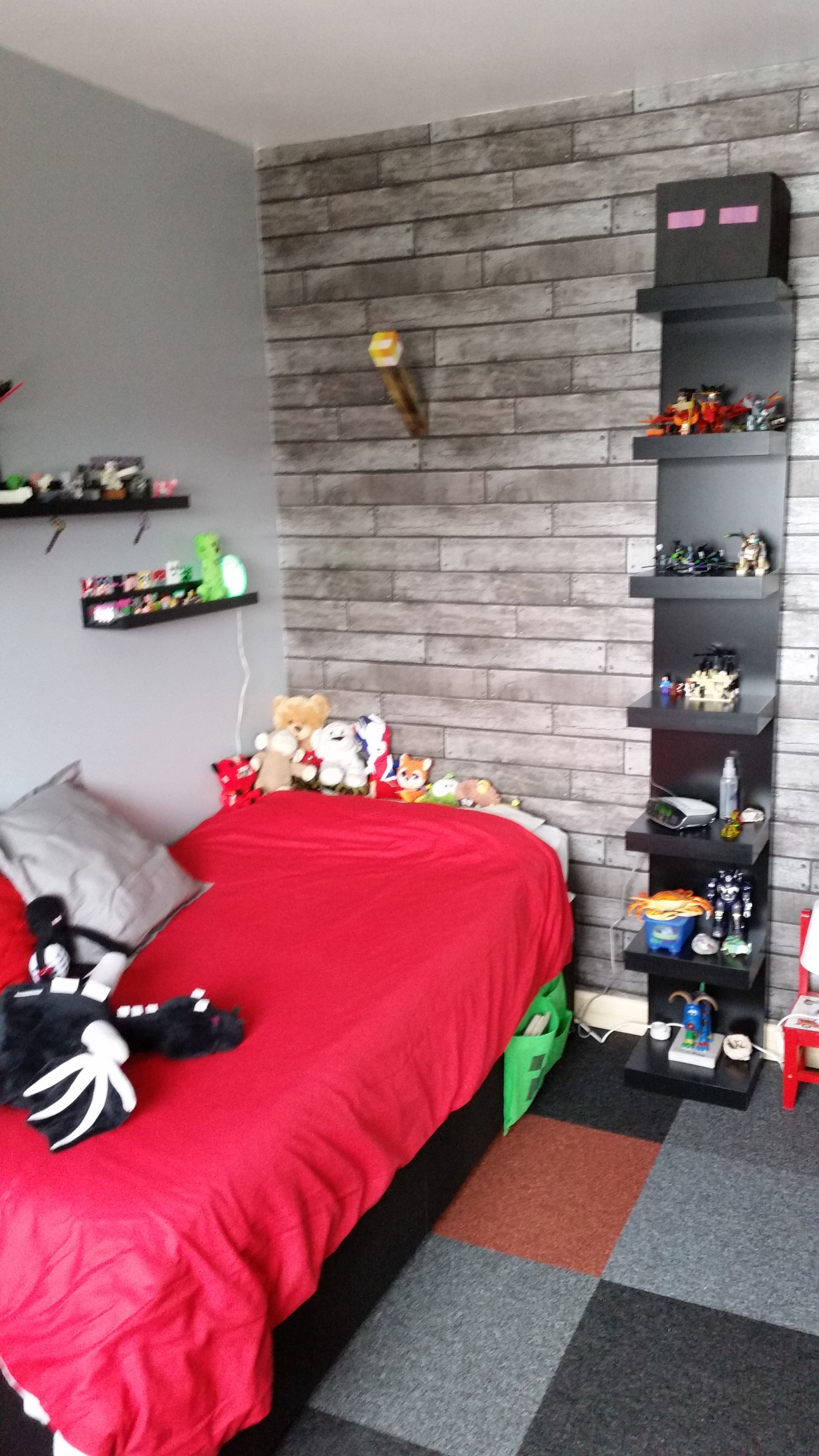 Minecraft Bedroom Wallpaper Minecraft Bedroom Using Ikea Furniture In Black Red Grey