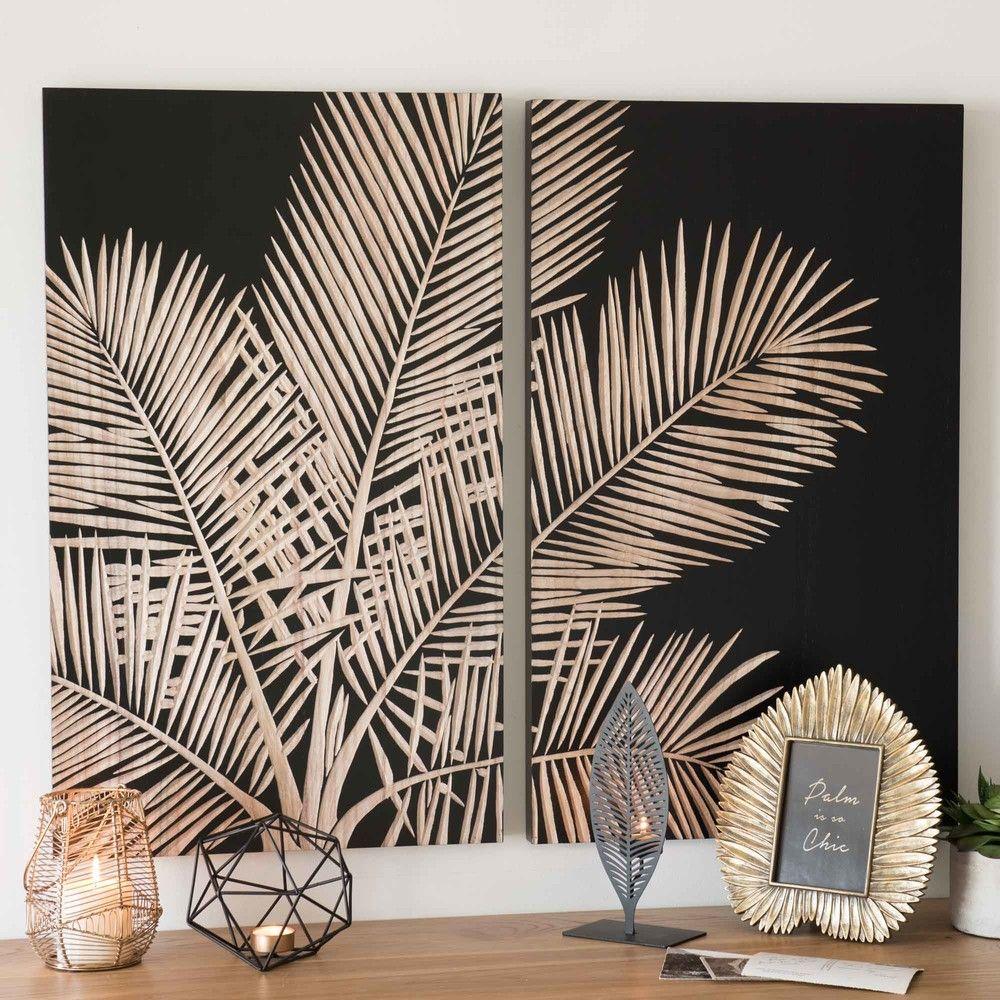 tableau diptyque palmier noir 75x90 maisons du monde ma chambre cosy parfaite pinterest. Black Bedroom Furniture Sets. Home Design Ideas