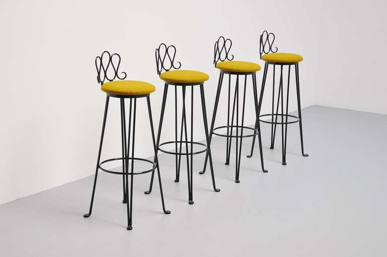 French Wrought Iron Bar Stools 1960 Attributed To Matiheu