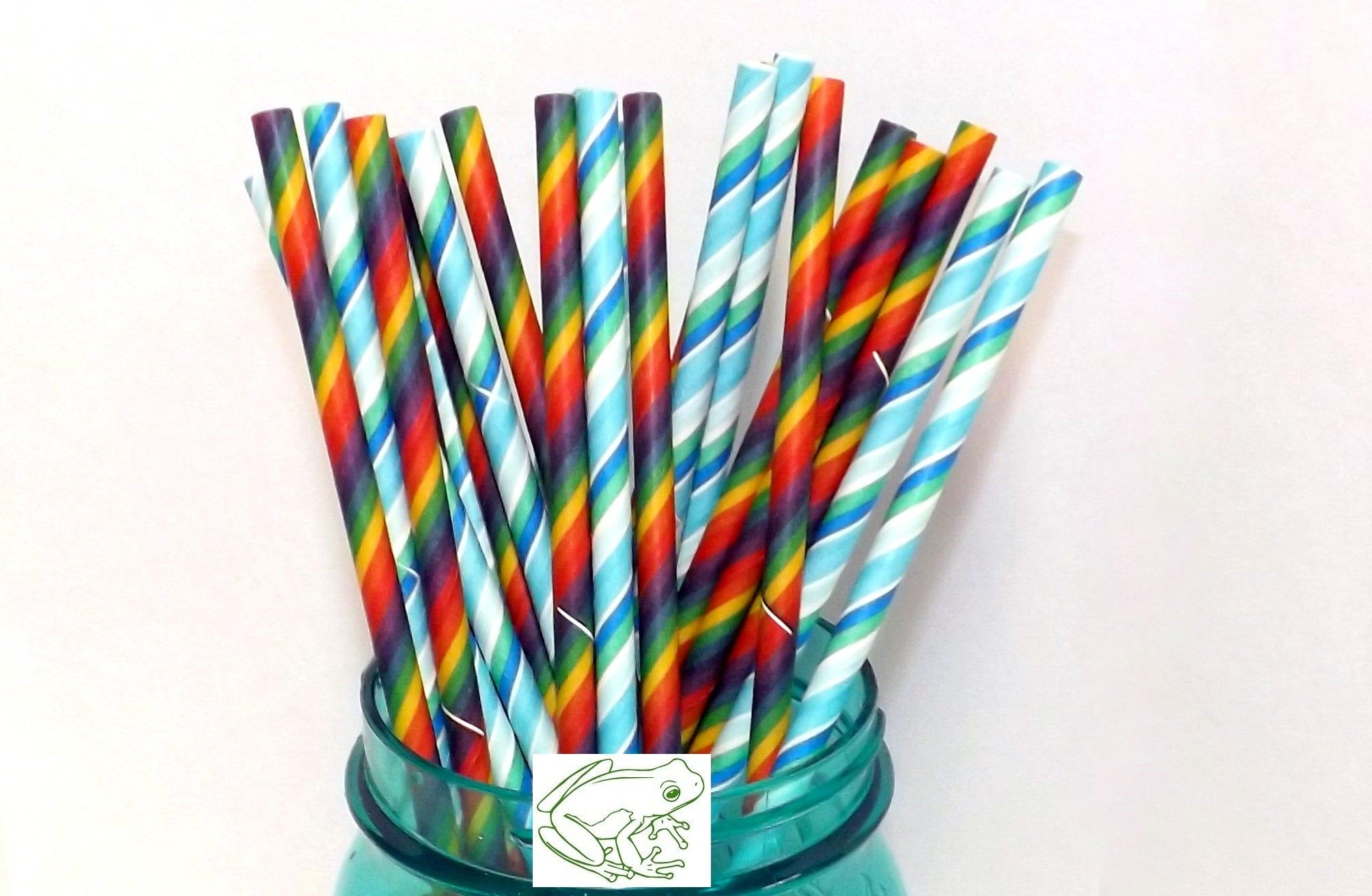 Colorful Striped Paper Straws in rainbow and blue and