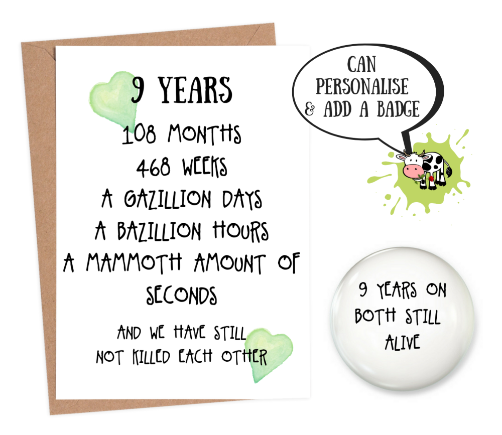 9th year anniversary card personalised wedding