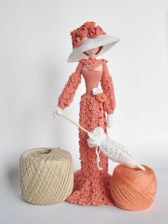 Cloth doll, Rag doll, Amigurumi Crocheted doll, Art doll Lady with ...