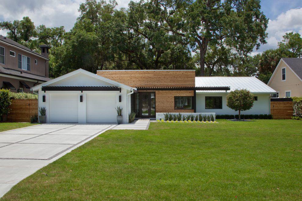 Ranch House Exterior Midcentury With Cedar Siding Contemporary Deck Tiles