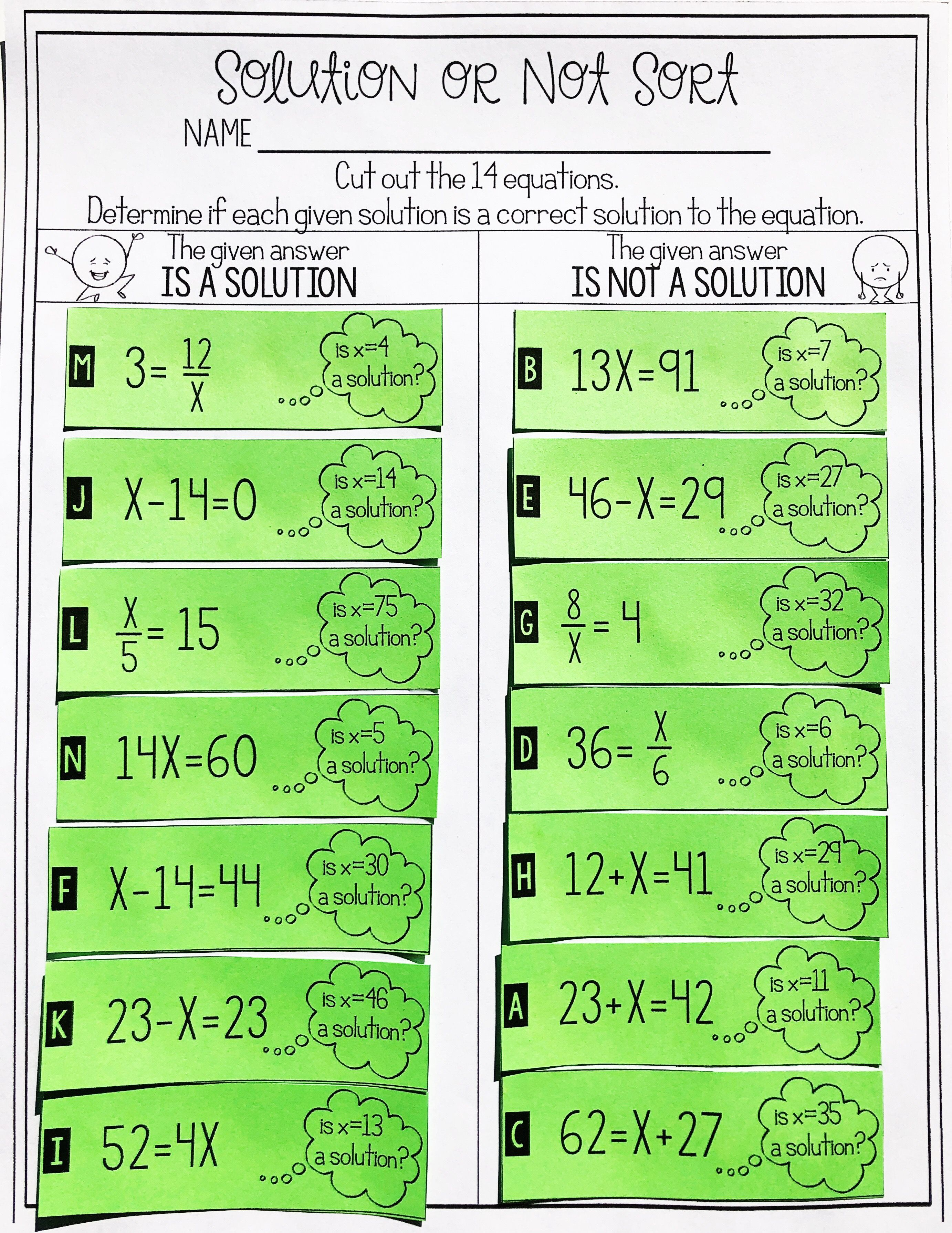 medium resolution of This one step equation solution or not card sort activity is the perfect  project …   Solving equations activity