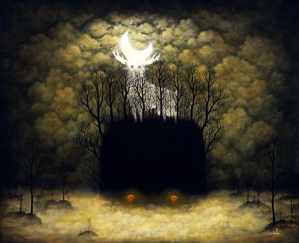 """""""Dark and Light Radiate in the Night"""" Painting by Andy Kehoe"""